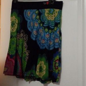 Rare Desigual Floral Pattern Skirt Size XL NWOT